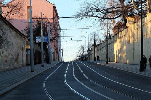 Tramway, Street, Empty, Prague, Road, Streetlights