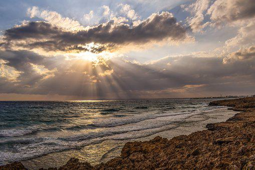 Sunset, Sea, Sky, Clouds, Waves, Sunshine, Sunbeam