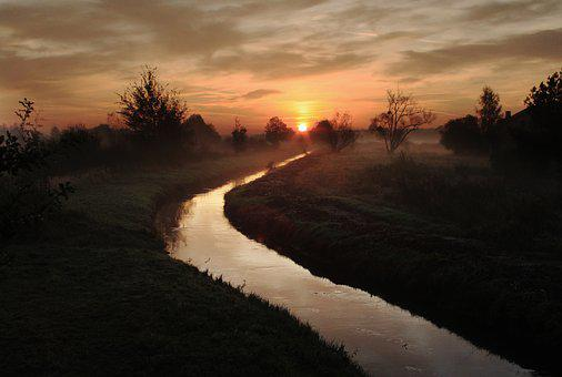 East, Sunrise, Landscape, In The Morning, Morning, Fog