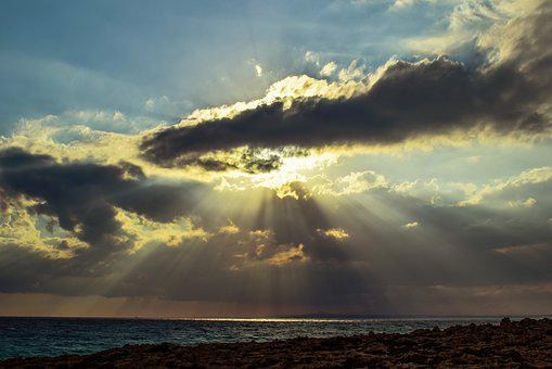 Sunset, Sea, Sky, Clouds, Light, Sunshine, Sunbeam