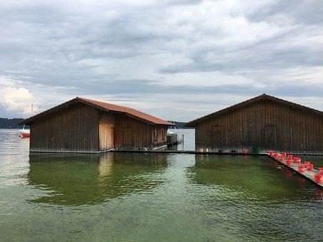 Boat House, Lake, Bavaria, Nature, Waters, At The Lake