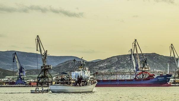 Greece, Volos, Port, Harbor, Boats, Cranes, Afternoon