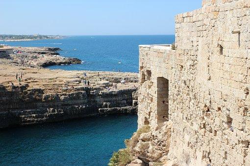 Sea, Puglia, Polignano A Mare, Building, Costa, Italy