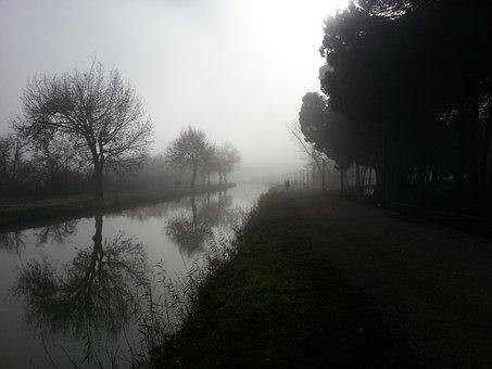 Fog, Landscape, Winter, Channel, Reflection, Field