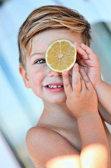 Lemon, Kid, Boy, Child, Cute, Fruit, Food, Fun, Fresh