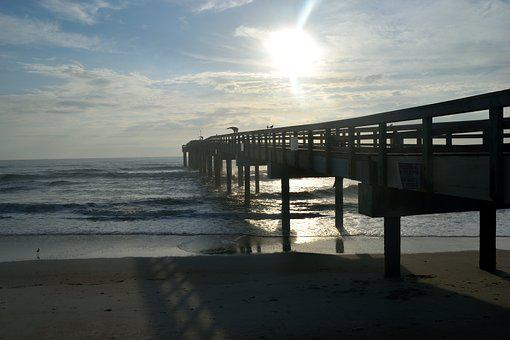 Fishing Pier, Structure, Landscape, Ocean, Sea, Fishing