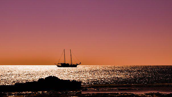 Sunset, Boat, Colors, Coast, Sea, Landscape, Beach