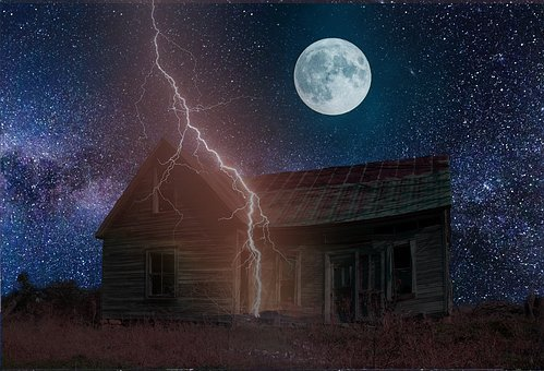 Abandoned, House, Lightening, Storm, Old, Building