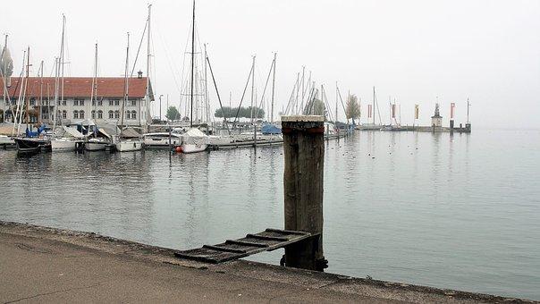 Morning, Haze, Lake, Water, Marina, Sailboats, Mood