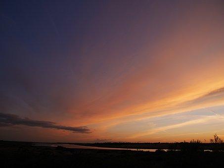Landscape, Sky, Sunset, Summer, Orange, Blue, Nature