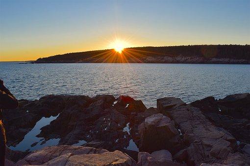 Sunset, Rocks, Water, Pine Trees, Maine, Nature