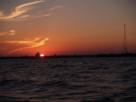 Sail, Sailboat, Sunset, Ocean, Ocean Sunset, Sky