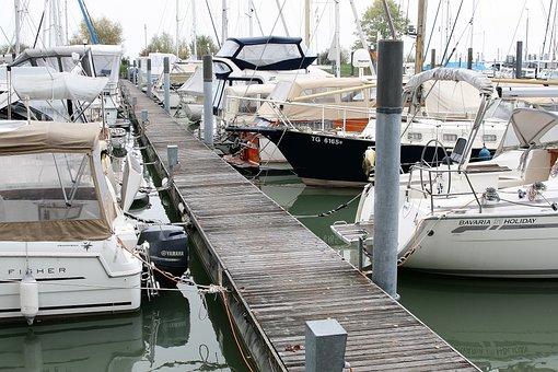 Lake, Marina, Morning, Sailboats, The Mast