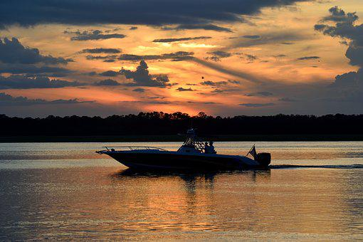 Sunset, Boat, Fisherman, Sky, River, Water, Nature