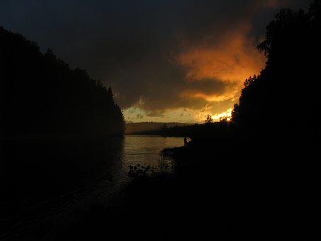 Evening, Sunset, Sunset Sky, Trees, Clouds, Sun