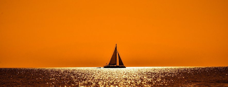 Sunset, Sunlight, Boat, Catamaran, Orange, Sea