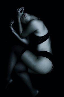 Girl, Sexy, Underwear, Asian, Dark Mood, Art, Studio