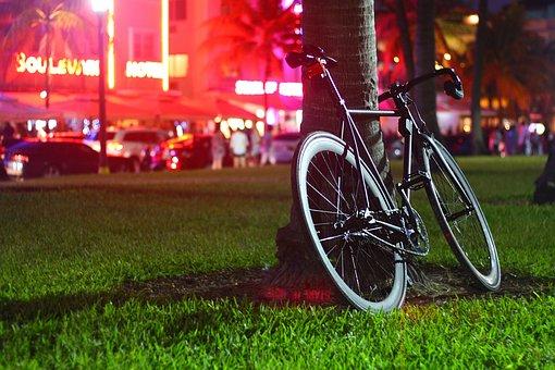 Night, Park, Street, Bike, Bicycle, Fixie, Black
