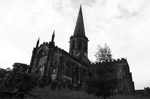 Church, Peak District, Moody, Monochrome, Building