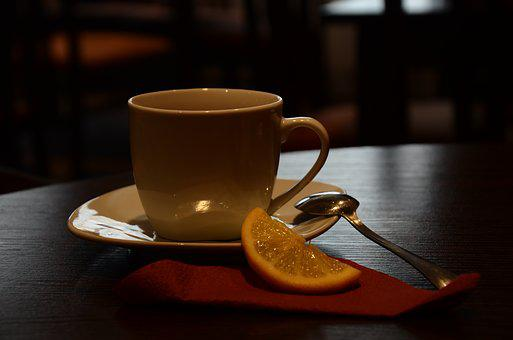 Café, Cup, Tea, Lemon