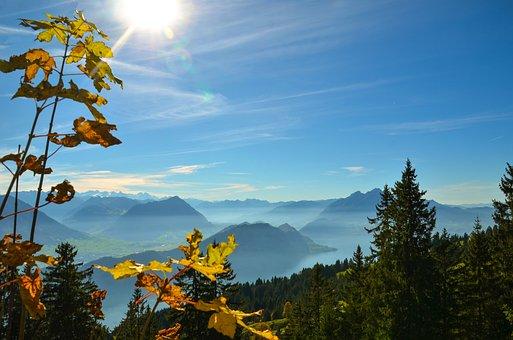 Golden Autumn, Alpine, Hike, Sun, Summit, Distant View