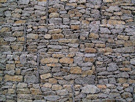 Stones, Fence, Metal Mesh