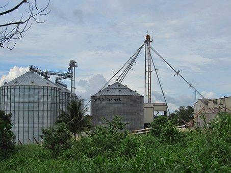 Grainery, Tanks, Corn, Storage, Elevator, Farm
