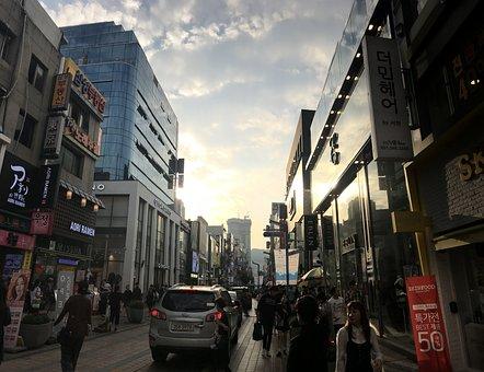Pusan, Korea, City, Street, Urban, Architecture, Road