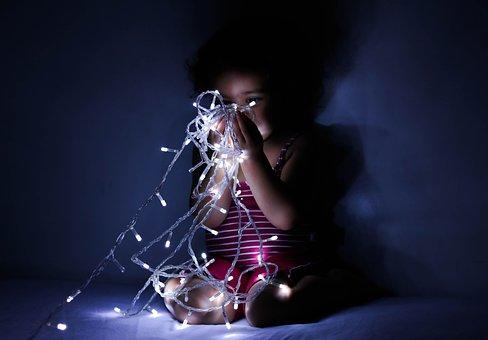 Child, Lighting, Baby, Hands, Night, Purity, Love