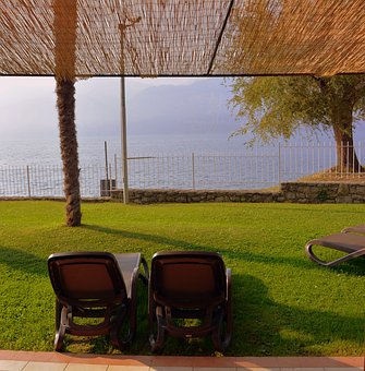Garden, Lake, Chairs, Garda, Malcesine, Italy