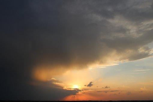 Sunset, Sky, Clouds, Abendstimmung, Romance, Orange