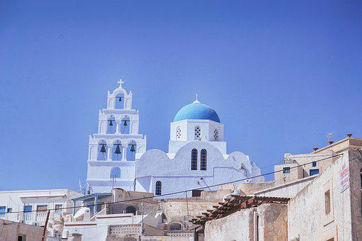 Travel, Greece, Santorini, Cyan Light Blue