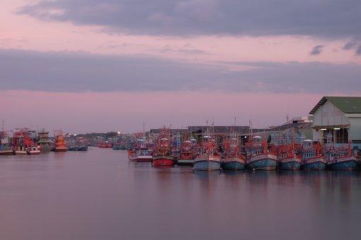 Sea Scape, Boat, Sunset, Sea, Summer, Sun, Nature