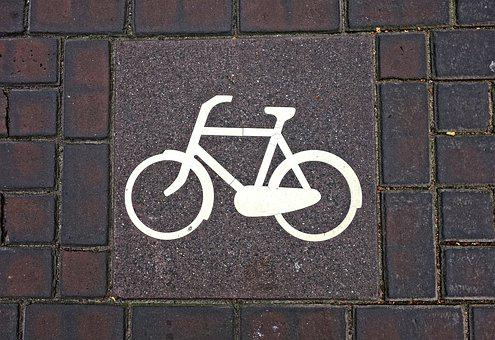 Bicycle, Icon, Sign, Traffic Sign, Stone, Tile, Street