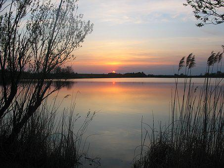 Sunset, Lake, Water, Sky, Nature, Summer