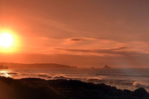 Sun, Color Filters, Sunset, Mood, Wave, Beach, Surf