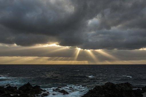 Clouds, Sun, Sea, Sunrise, Rays, Nature, Sunbeam, Light