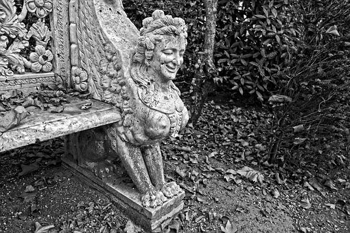 Bench, Stone Bench, Scroll, Ornament, Seat, Support