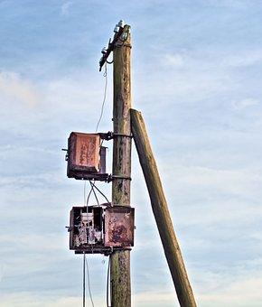 Phone, Telecommunication, Pole, Wood, Poland, Landscape