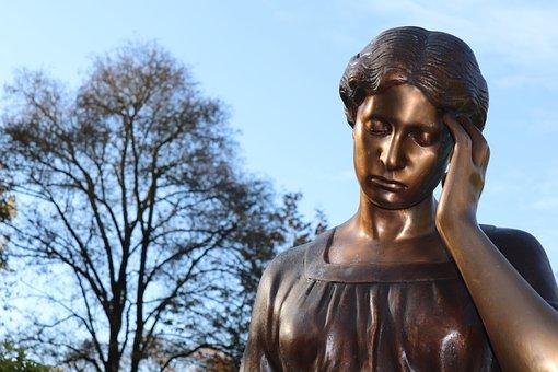 Statue, Bronze Figure, Tree, Bronze Statue, Head, Girl