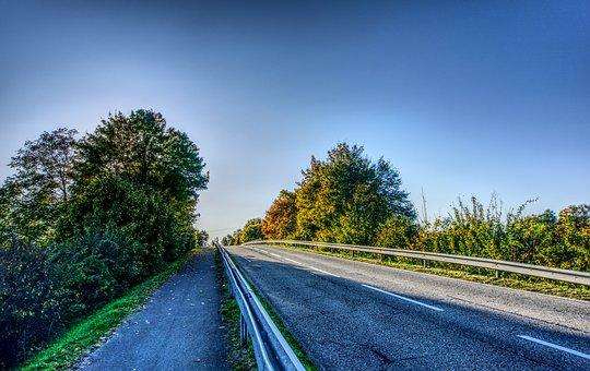 Road, Away, Tar, Asphalt, Trees, Green, Colorful, Sky