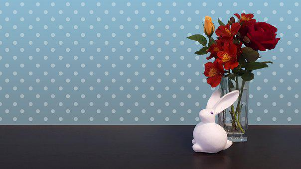 Easter, Bunny, Rabbit, Flowers, Spring, Pet, White
