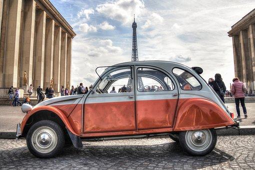 Deux, Chevaux, Citroen, Car, Paris, France, Auto