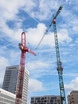 Construction Cranes, Site, Frankfurt