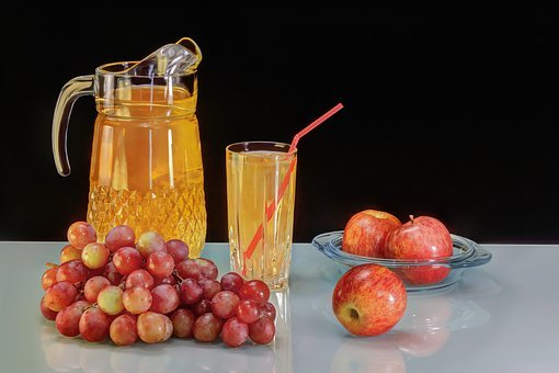 Grape Juice, Grapes, Apple, Tasty, Appetizing