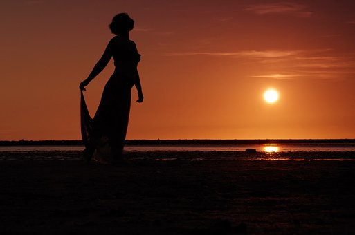 Sunset, Silhouette, Abendstimmung, Woman, Human, Sea
