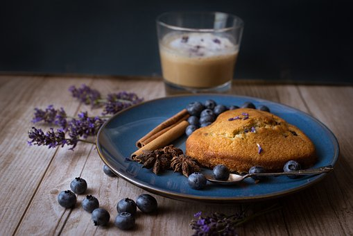 Coffee, Cake, Blueberries, Lavender, Spices, Latte