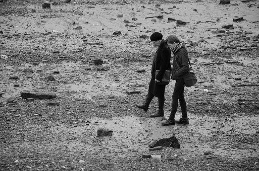 People, Beach, South Bank, London, Monochrome