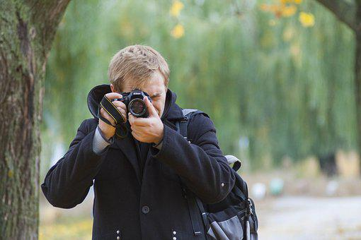 Portrait, Photo, Camera, Guy, Autumn