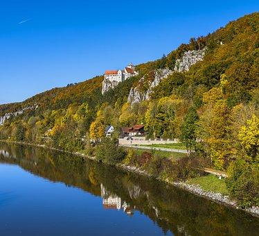 Castle Prunn, Castle, Autumn, Forest, River, Mirroring